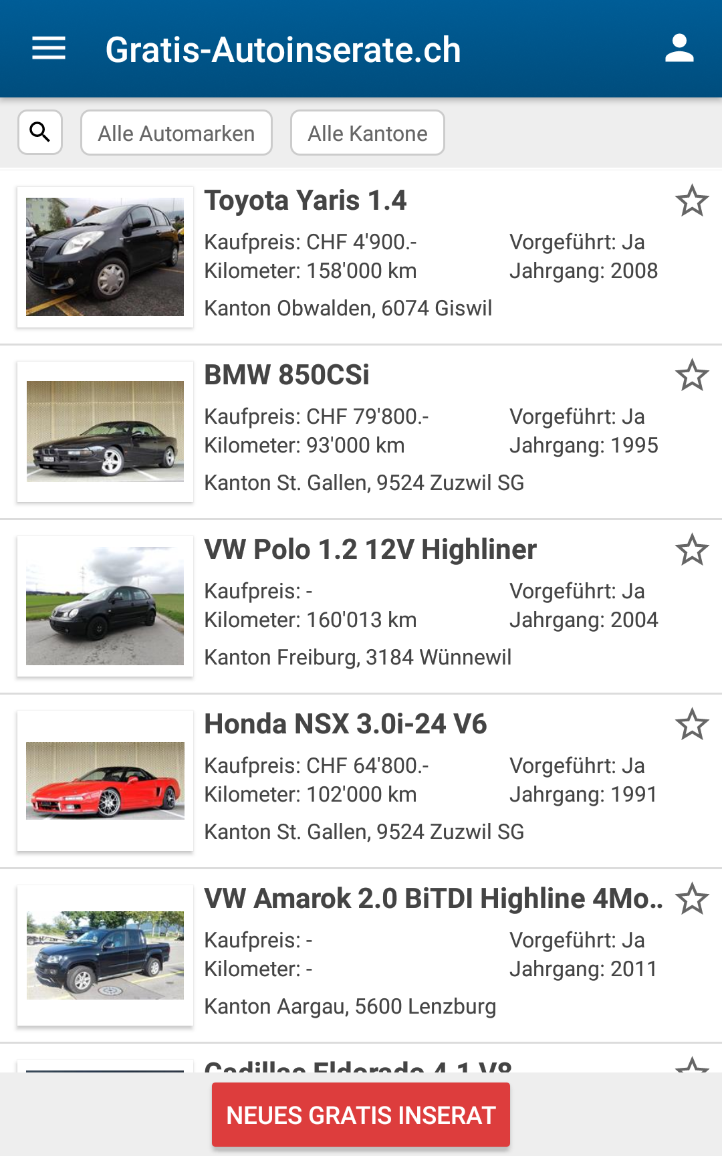 Gratis-Autoinserate.ch Android-App - Auto Occasion Schweiz